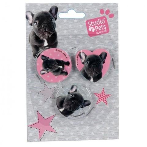 Zestaw gumek Studio Pets - Buldog francuski