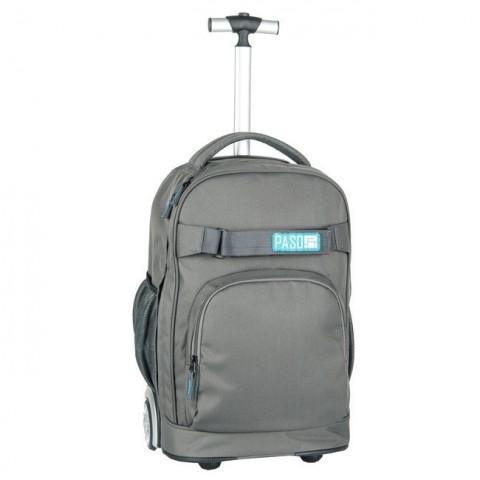Plecak na kółkach Paso Unique Grey - kolor szary