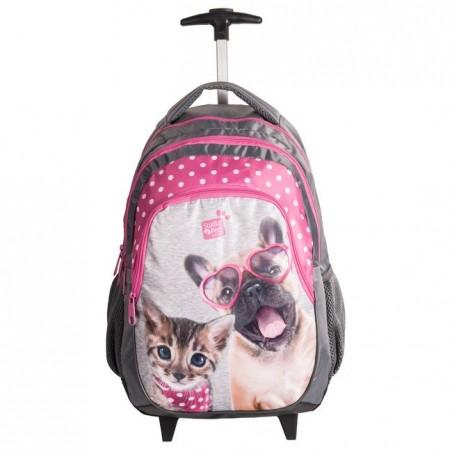 Plecak na kółkach Studio Pets szaro-różowy - pies i kot
