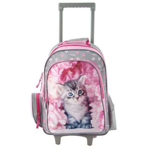 Plecak na kółkach - różowy z szarym kotkiem