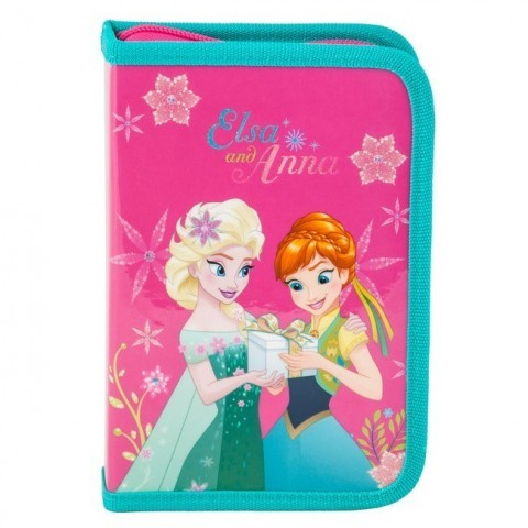 Piórnik z wyposażeniem Frozen - Anna i Elsa różowy