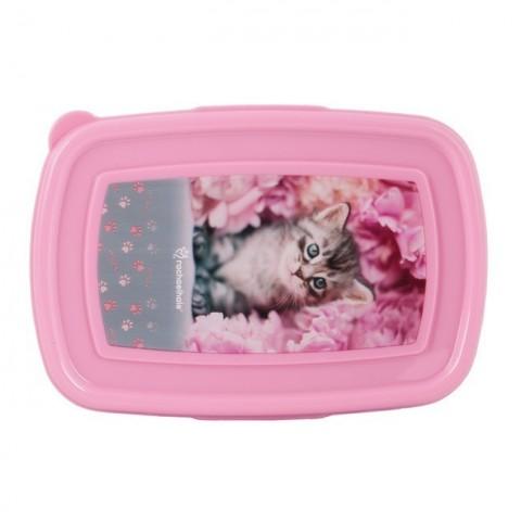 Śniadaniówka różowa z szarym kotkiem