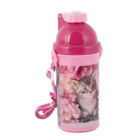 Bidon różowy z szarym kotkiem