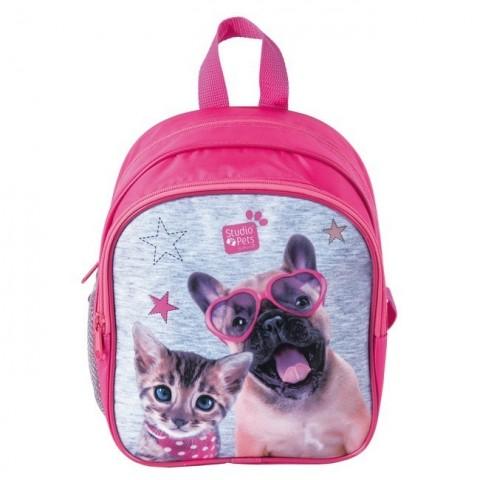 Plecaczek Studio Pets szaro-różowy pies i kot