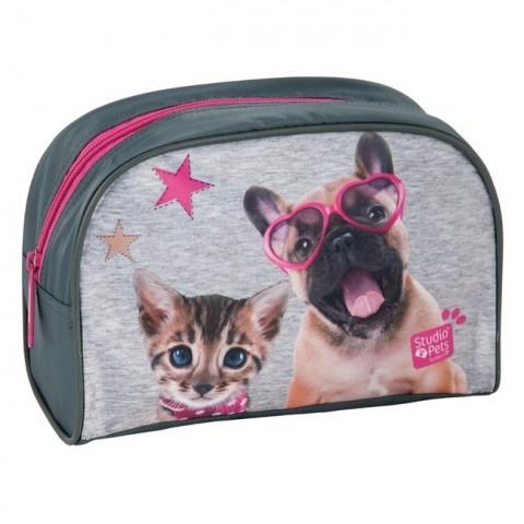 Kosmetyczka szaro-różowa pies i kot