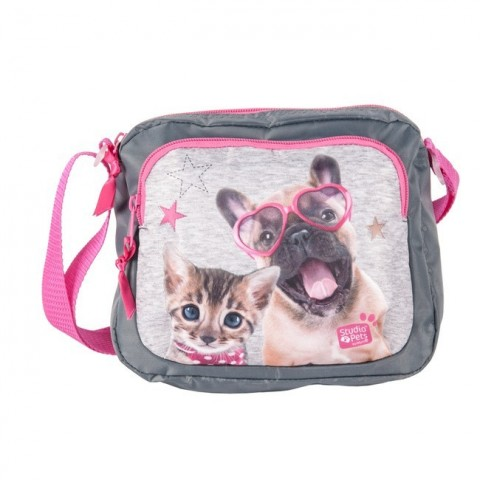 Torebeczka na ramię szaro-różowa pies i kot