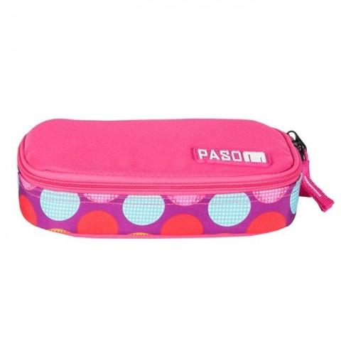 Piórnik szkolny / etui usztywniane Paso Pink Spot w kropki