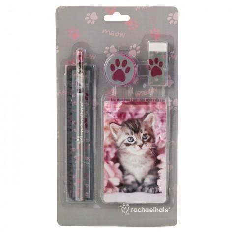 Zestaw 5 elementów Rachael Hale różowy z szarym kotkiem