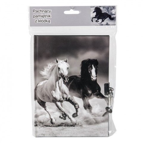 Pachnący pamiętnik z kłódką konie - szary