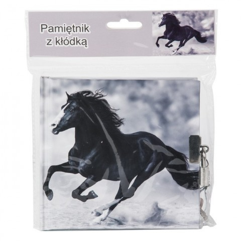 Pamiętnik na kłódkę konie - szary