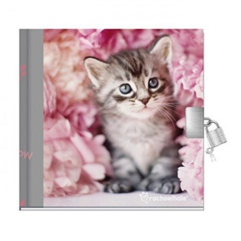 Pamiętnik Rachael Hale różowy z szarym kotkiem