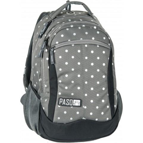 Plecak młodzieżowy Paso Unique Silver Dot - szary w kropki