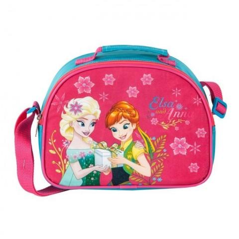 Śniadaniówka materiałowa Frozen Anna i Elsa różowa