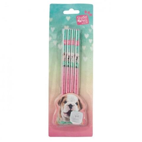 Zestaw ołówków Studio Pet's kolorowy z buldogiem