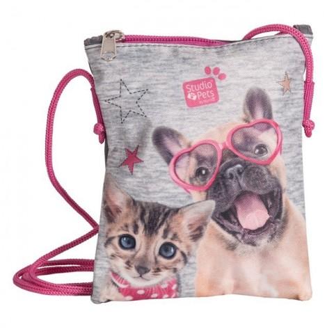 Torebka portfelik na sznurku Studio Pets szaro-różowy pies i kot