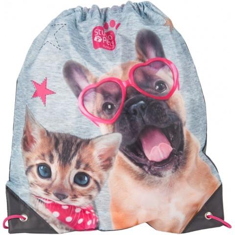 Worek szkolny Studio Pets szaro-różowy pies i kot
