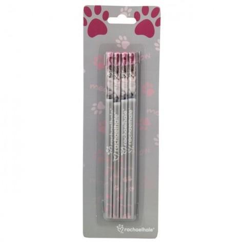 Zestaw ołówków Rachael Hale różowy z szarym kotkiem