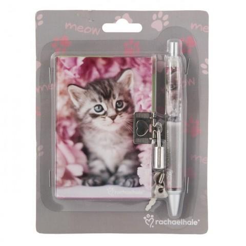 Zestaw z pamiętnikiem Rachael Hale różowy z szarym kotkiem