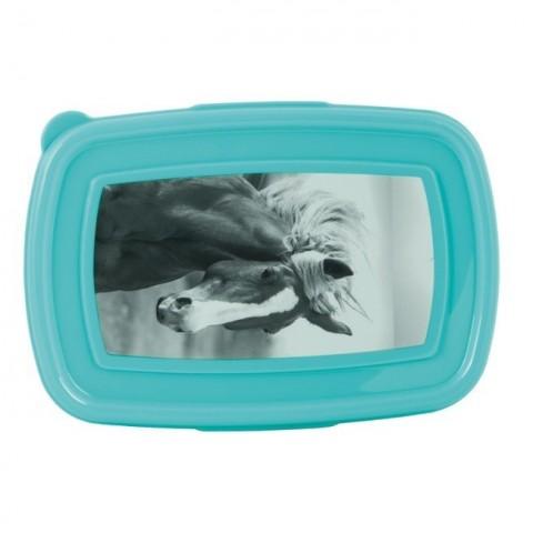 Śniadaniówka konie - turkus