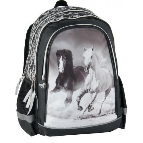 Plecak szkolny konie - szary