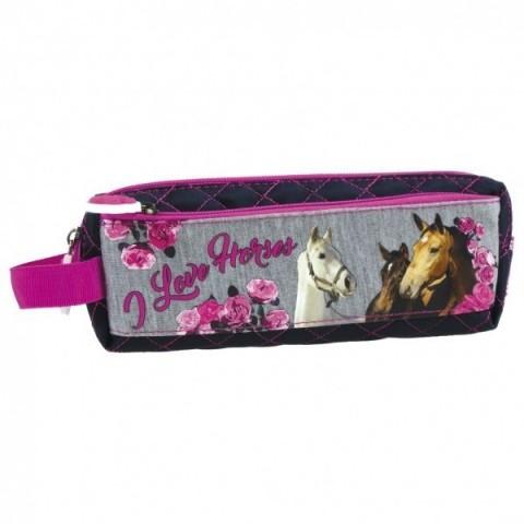 Piórnik saszetka 13 Konie szaro-różowa
