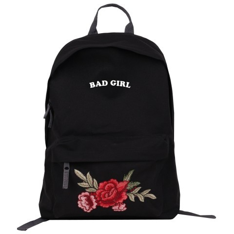 "Plecak Simple roses znapisem ""Bad Girl"" czarny /black"