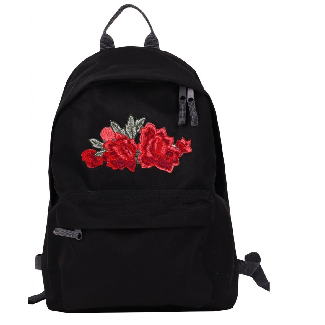 Plecak Simple Roses z różą Black/Czarny