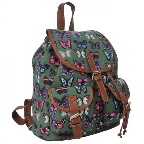 Plecak młodzieżowy Canvas Vintage zielony w motyle