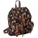 Plecak młodzieżowy Canvas Vintage sowy czarny