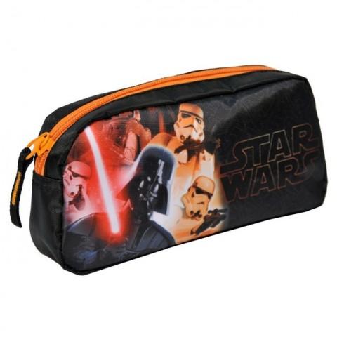 Piórnik szkolny Star Wars - czarny z pomarańczowym zamkiem