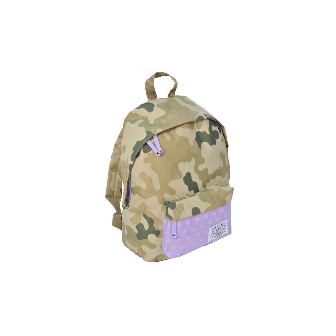 Plecak młodzieżowy Moro Khaki fioletowy w gwiazdki