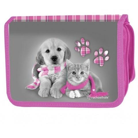 Piórnik z psem i kotem w szaliku