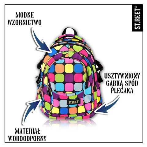 Plecak młodzieżowy 01 ST.REET w kolorowe kwadraty SQUARES