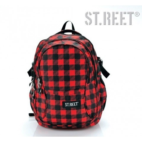 Plecak młodzieżowy 01 ST.REET czarno-czerwony w kratkę CHEQUERED 8 BLACK&RED