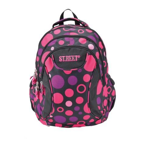 Plecak młodzieżowy 02 ST.REET czarny w różowe kropki DOTS 3 BLACK&PINK