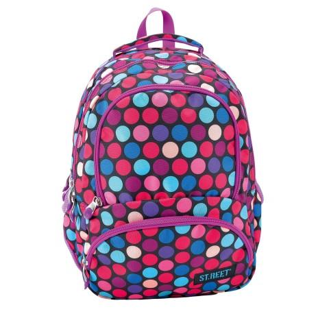 Plecak młodzieżowy 07 ST.REET czarny w kolorowe kropki DOTS 1 PURPLE&PINK