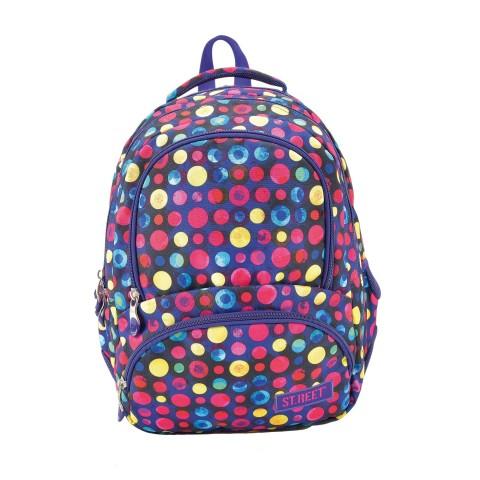 Plecak młodzieżowy 07 ST.REET fioletowy w kropki DOTS 2 PINK&YELLOW