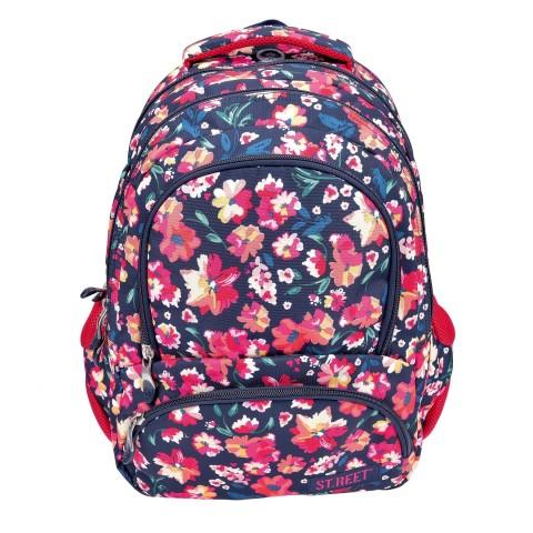 Plecak młodzieżowy 07 ST.REET granatowy w kwiaty FLOWERS 1 CLARET