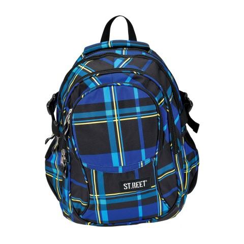 Plecak młodzieżowy 01 ST.REET czarno - niebieski w kratkę CHEQUERED 5 BLACK&NAVY