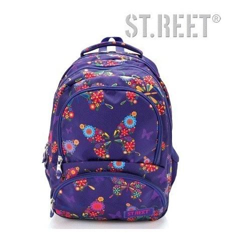 Plecak młodzieżowy 07 ST.REET fioletowy w motyle BUTTERFLY