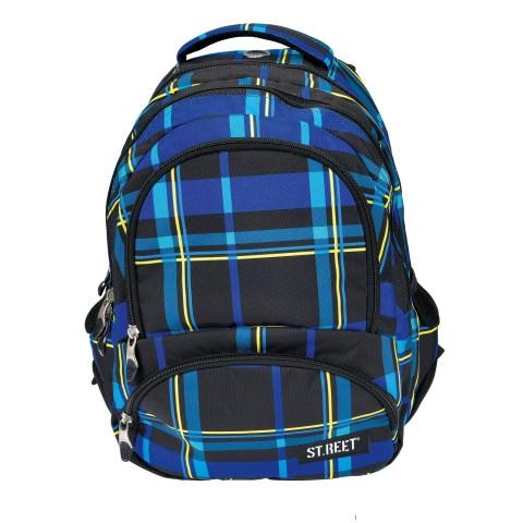 Plecak młodzieżowy 07 ST.REET czarno-niebieski w kratkę CHEQUERED 5 BLACK&NAVY