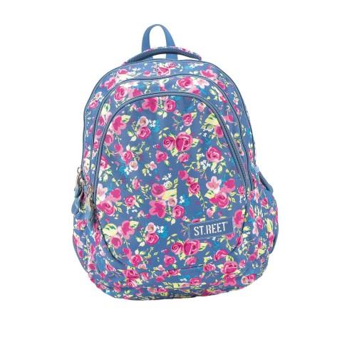 Plecak młodzieżowy 06 ST.REET niebieski w kwiatki FLOWERS 2 NAVY BLUE