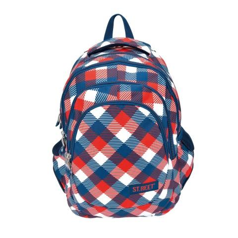 Plecak młodzieżowy 06 ST.REET czerwono - niebieski w kratkę CHEQUERED 6 RED&NAVY