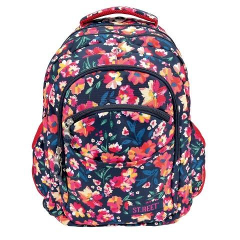 Plecak młodzieżowy 03 ST.REET granatowy w kwiaty FLOWERS 1 CLARET