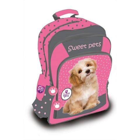 Plecak szkolny Sweet Pets - różowy w kropki z pieskiem