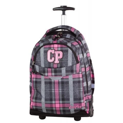 Plecak na kółkach dla dziewczynki w kratkę - szaro -różowy CP CoolPack