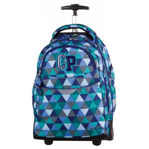 Plecak na kółkach Coolpack CP dla chłopca lub dla dziewczynki z niebieskimi i zielonymi trójkątami - kolekcja 2017