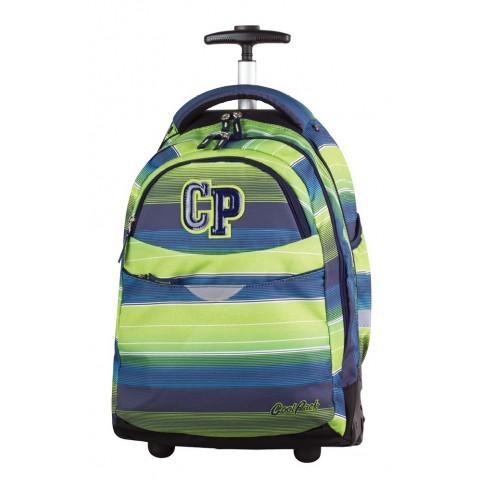 Plecak na kółkach CoolPack CP zielono-niebieski w paski dla chłopca