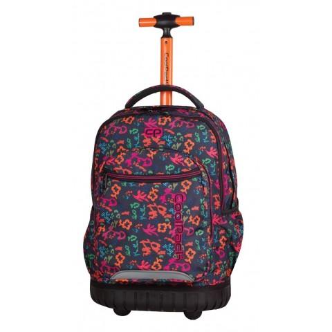 Plecak na kółkach CoolPack w kwiaty z pomarańczową rączką