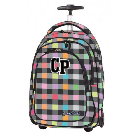 Plecak na kółkach CoolPack CP szary w kratkę - Pastel Check - ulubiony motyw dla dziewczynki od CP